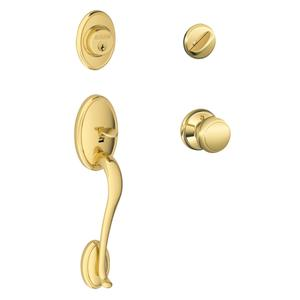 Wakefield Single Cylinder Handleset and Andover Knob - Bright Brass Product Image