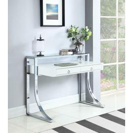 Contemporary Glossy White Writing Desk