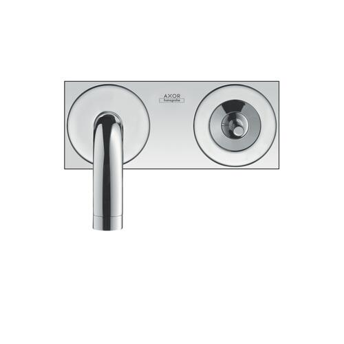 Brushed Gold Optic Single lever basin mixer for concealed installation wall-mounted with spout 225 mm and plate