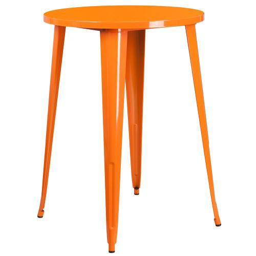 30'' Round Orange Metal Indoor-Outdoor Bar Height Table