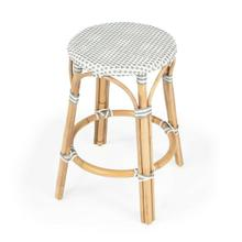 See Details - Evoking images of sidewalk tables in the Cote d'Azur, counter stools like this will give your kitchen or patio the casual sophistication of a Mediterranean coastal bistro. Expertly crafted from thick bent rattan for superb durability, it features weather resistant woven plastic in a grey pattern. This backless counter stool is lightweight for easy mobility with comfort to make the space it's in a frequent gathering place.