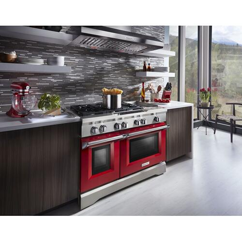 KitchenAid - 48'' 6-Burner with Griddle, Dual Fuel Freestanding Range, Commercial-Style Signature Red
