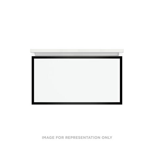 "Profiles 30-1/8"" X 15"" X 18-3/4"" Modular Vanity In Matte Gray With Matte Black Finish and Slow-close Plumbing Drawer"