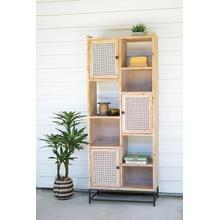 See Details - tall wooden cabinet with cane doors