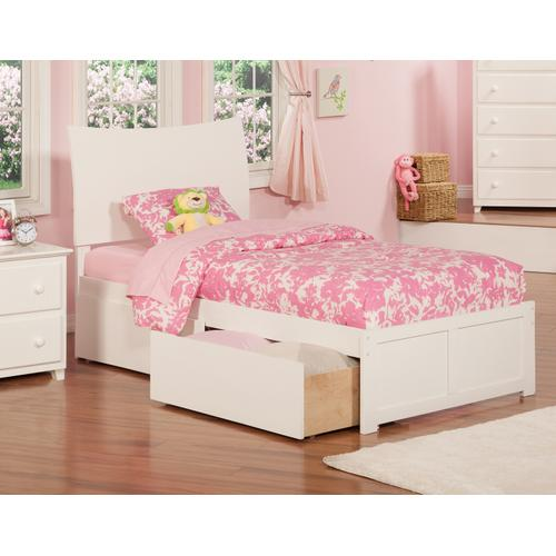 Soho Twin Flat Panel Foot Board with 2 Urban Bed Drawers White