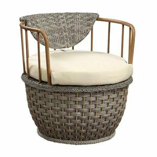 ACME Eskil Patio Chair (Set-2) - 45052 - Fabric & 2-Tone Gray Wicker