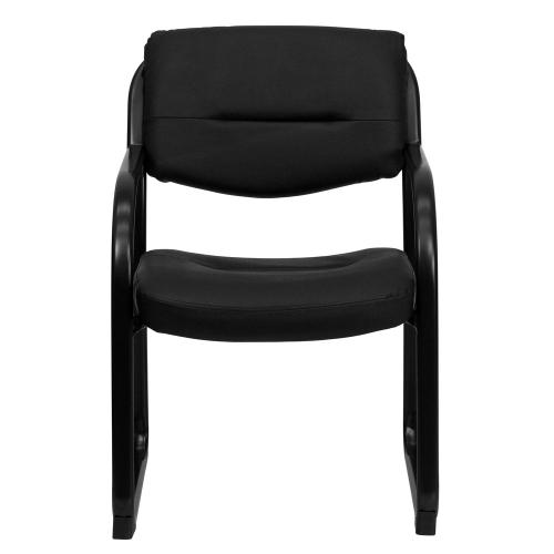 Black Leather Executive Side Reception Chair with Sled Base