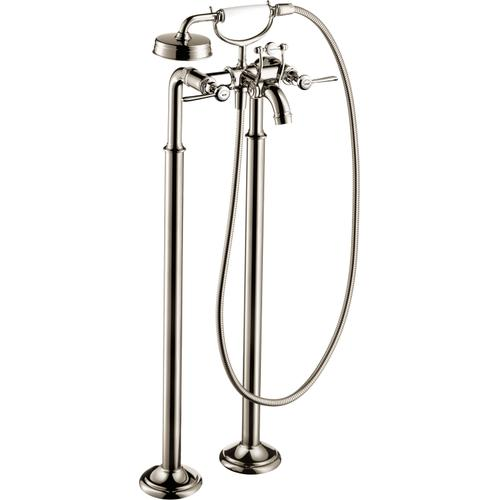 Polished Nickel 2-Handle Freestanding Tub Filler Trim with Lever Handles and 1.8 GPM Handshower