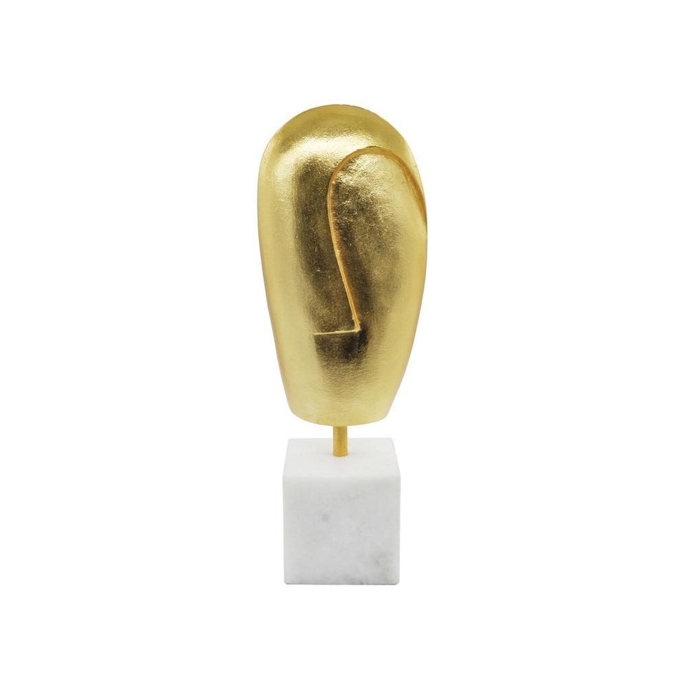 A Curators Dream, the Abbie Abstract Face Sculpture Is A Statement Piece In Any Interior. Unique From Every Angle and Finished In Gold Leaf On A Marble Stand.