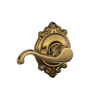 Callington Lever with Brookshire trim Hall & Closet Lock - Antique Brass Product Image
