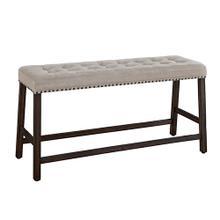 See Details - Upholstered Counter Bench - Dark Walnut Finish