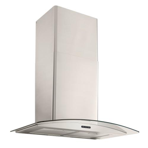 30-In. Convertible Wall Mount Curved Glass Chimney Range Hood with LED Light in Stainless Steel