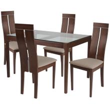 5 Piece Walnut Wood Dining Table Set with Glass Top and Clean Line Wood Dining Chairs - Padded Seats
