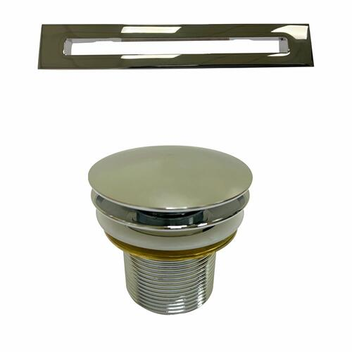 """Product Image - Olmos 59"""" Acrylic Freestanding Tub with Integral Drain - Brushed Nickel Drain and Overflow / Tap Deck - No Drillings"""