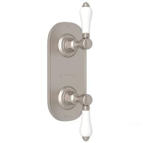 1/2 Inch Thermostatic and Diverter Control Trim - Satin Nickel with White Porcelain Lever Handle