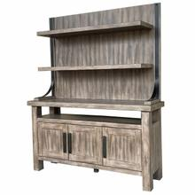 See Details - LODGE DINING 2pc 66 in. Buffet / Bar Display Hutch with quartz insert