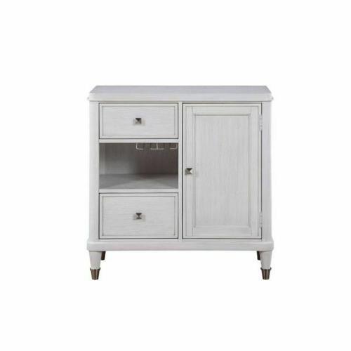 ACME Celestia Wine Cabinet - 62117 - Traditional - Wood (Solid Poplar), Wood Veneer (Oak), Poly-Resin, MDF, Ply, PB - Off White