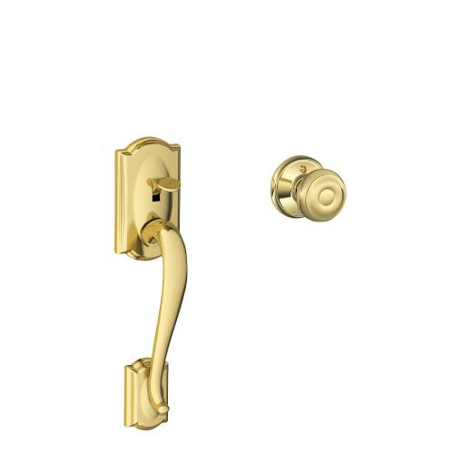 Camelot Front Entry Handle and Georgian Knob - Bright Brass