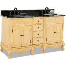 """60-7/8"""" double Buttercream vanity with Antique Brass hardware, carved floral onlays, French scrolled legs, and preassembled Black Granite top and 2 oval bowls"""