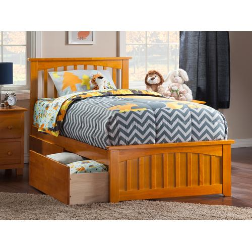 Mission Twin XL Bed with Matching Foot Board with 2 Urban Bed Drawers in Caramel Latte