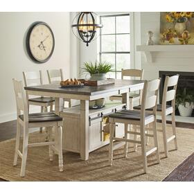 Madison County High/low Table & 4 Stools Vintage White