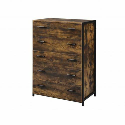 ACME Juvanth Chest, Rustic Oak & Black Finish - 24266