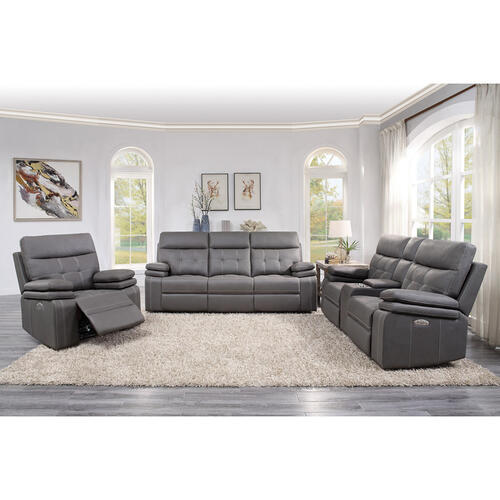 Homelegance - Power Double Reclining Love Seat with Center Console and Power Headrests, USB Port
