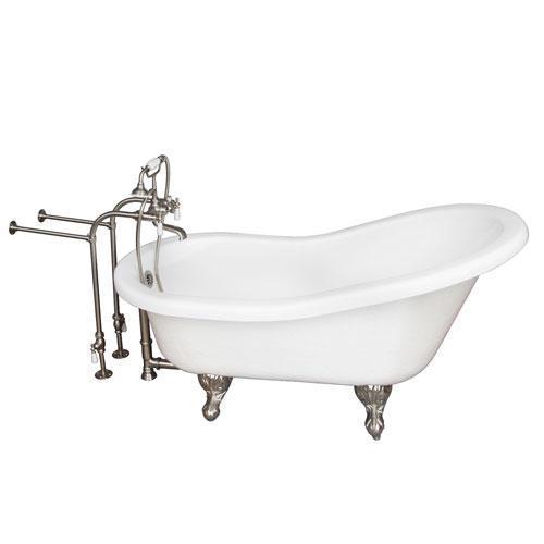 "Imogene 67"" Acrylic Slipper Tub Kit in White - Brushed Nickel Accessories"