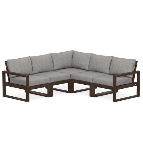 Polywood Furnishings - EDGE 5-Piece Modular Deep Seating Set in Mahogany / Grey Mist