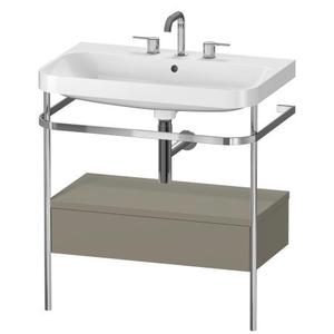 Furniture Washbasin C-shaped With Metal Console Floorstanding, Stone Gray Satin Matte (lacquer)