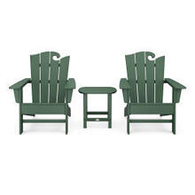 View Product - Wave 3-Piece Adirondack Set with The Ocean Chair in Green