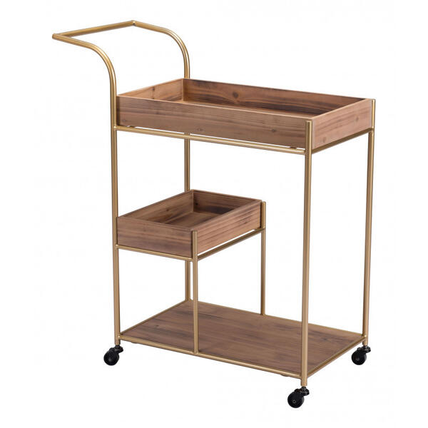 Bar Cart & Tray Brown & Gold