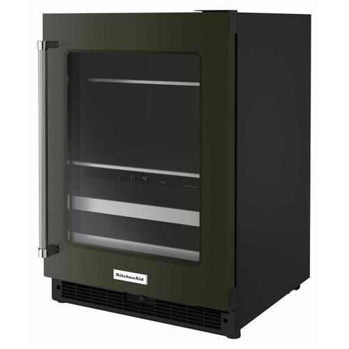 """KitchenAid - 24"""" Beverage Center with Glass Door and Metal-Front Racks - Black Stainless"""