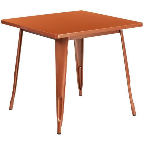 31.5'' Square Copper Metal Indoor-Outdoor Table