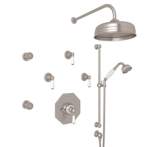 Satin Nickel Perrin & Rowe Edwardian Thermostatic Shower Package with Edwardian Metal Lever
