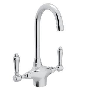 Polished Chrome San Julio Single Hole C-Spout Bar/Food Prep Faucet with Metal Lever Product Image