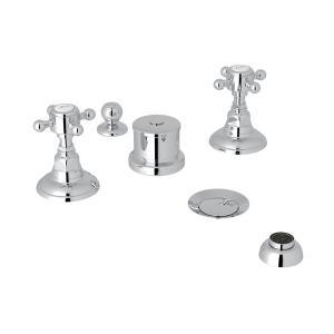 Polished Chrome Italian Bath Five Hole Bidet Faucet with Cross Handle Product Image