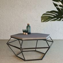 View Product - Modrest Tartan Modern Concrete & Black Metal Coffee Table