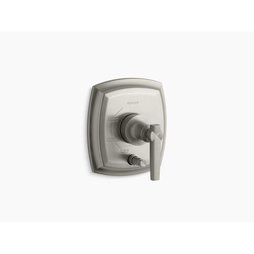 Kohler - Vibrant Brushed Nickel Rite-temp Pressure-balancing Valve Trim With Push-button Diverter and Lever Handles, Valve Not Included