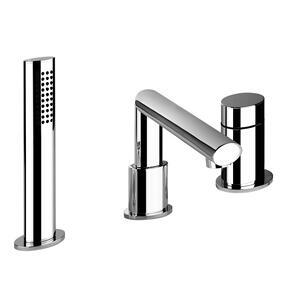 "Three-hole roman tub set Diverter Spout - Projection 7-1/8"" Handshower 59"" flex hose Handshower max flow rate 2.0 GPM Spout max flow rate 4.3 GPM at 43 PSI Product Image"