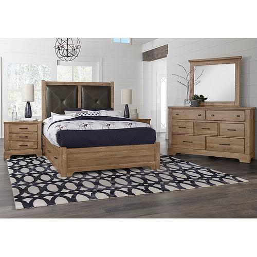 King Leather Bed with 2 Side Storage