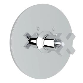 Lombardia Thermostatic Trim Plate without Volume Control - Polished Chrome with Cross Handle