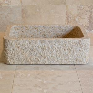 Farmhouse Sink With Chiseled Apron, 8 Inch Depth Beige Granite Product Image