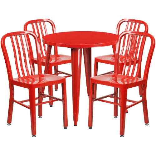 30'' Round Red Metal Indoor-Outdoor Table Set with 4 Vertical Slat Back Chairs