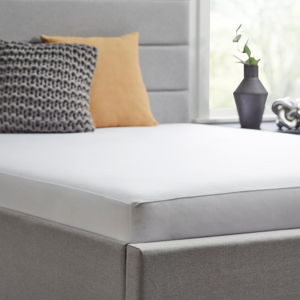 Tencel Jersey 5-Sided Mattress Protector, cal king, White