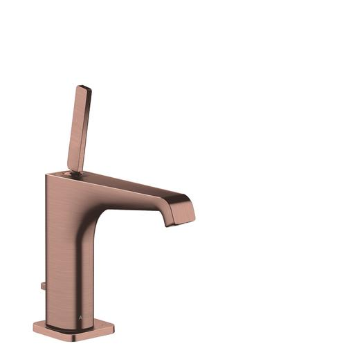 Brushed Red Gold Single lever basin mixer 130 with pin handle and pop-up waste set