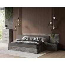 See Details - Nova Domus Ferrara - Modern Volcano Oxide Grey Bed + Nightstands
