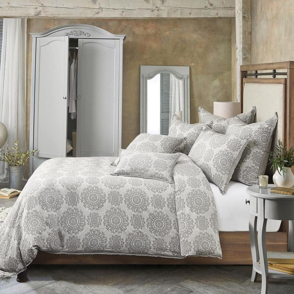 Reagan 7pc Queen Duvet Set Gray