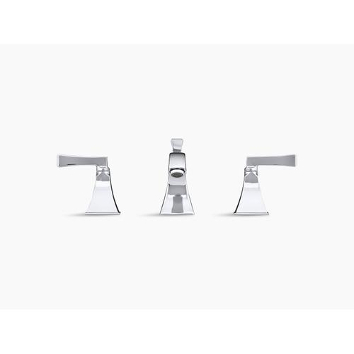 Polished Chrome Widespread Bathroom Sink Faucet With Deco Lever Handles
