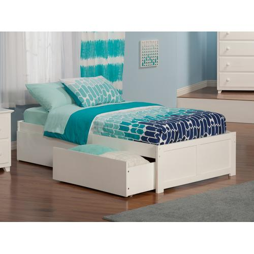 Concord Twin XL Flat Panel Foot Board with 2 Urban Bed Drawers White